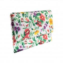 Borsa clutch Violetta verde, in raffia intrecciata
