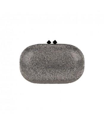 Borsa clutch, Belinda argento, in raso e strass