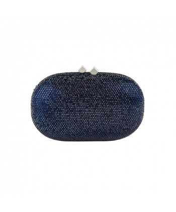 Borsa clutch, Belinda blu scuro, in raso e strass