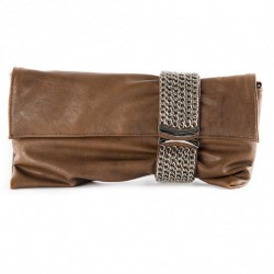 Bag clutch, Morena, Brown, eco leather