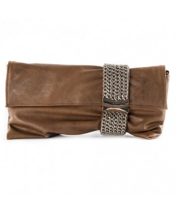 Borsa clutch, Morena Marrone, in eco pelle
