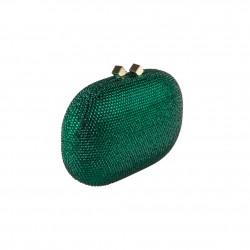 Borsa clutch, Belinda verde, in raso e strass