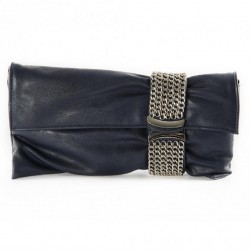 Borsa clutch, Morena Blu, in eco pelle