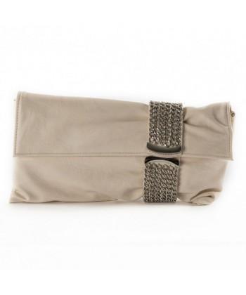 Bag clutch, Morena Beige, eco leather