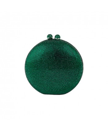 Borsa culutch, Linus verde, in strass