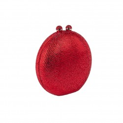 borsa clutch, Linus rosso, in strass
