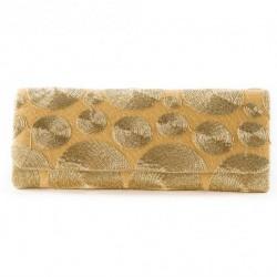 Bolsa de embreagem, Sissi Ouro, tecido e rendas