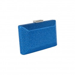 Borsa culutch, Maurizia blu, in raso e borchie