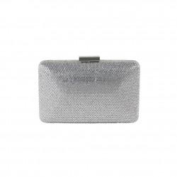 Borsa clutch, Yuri argento, con strass