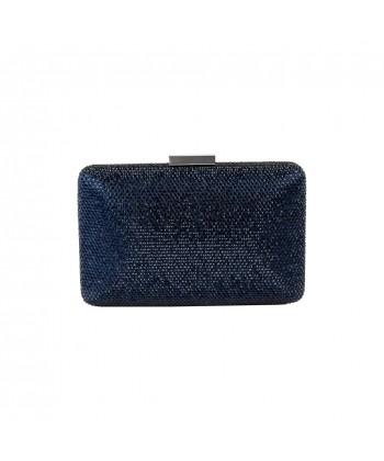 Borsa clutch, Yuri blu, con strass