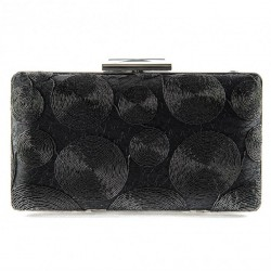Bag clutch bag, Gem Black, fabric and lace