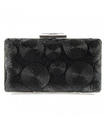 Bolsa bolso de embrague, Gema de color Negro, de tela y encaje