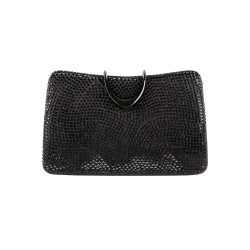 Borsa clutch, Energy azzurra, in raso e borchiette