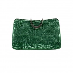 Borsa clutch, Energy marrone, in raso e borchiette