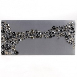 Bag clutch, Alide Silver, satin and stones