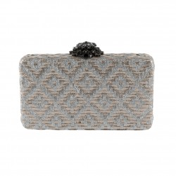 Borsa clatch, Nala argento, in ecopelle