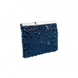 Borsa tracolla, Splendid blu, in raso e strass