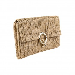 Borsa clatch, Virginia in raffia, marrone