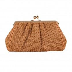 borsa clutch Vella, nocciola, in cotone lavorato