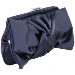 Borsa clutch, Selene blu, in raso blù