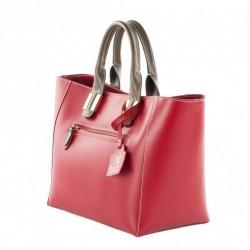 Sac à main, Serena, Rouge, cuir, fabriqué en Italie