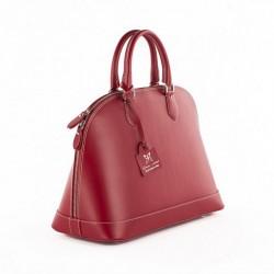 Bolso de mano, Fernanada, Rojo, cuero, hecho en Italia