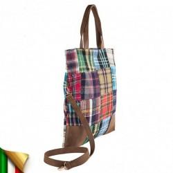 Borsa a mano, Cecilia Multi-color, in tessuto e pelle, made in Italy