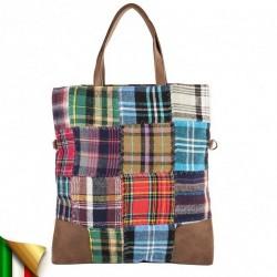 Bolso de mano, Cecilia, Multi-color, la tela y cuero, hecho en Italia