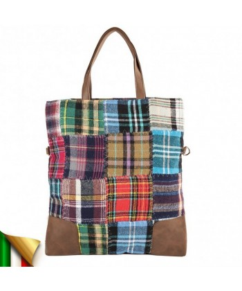 Handtasche, Cecilia Multi-color, in stoff und leder, made in Italy