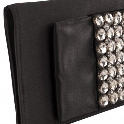 Bag clutch, Fiorella Black satin and stones