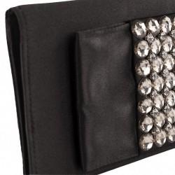 Bag clutch, Fiorella Black satin and stones