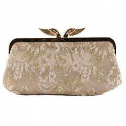 Bag clutch, Deanna, Beige satin with lace