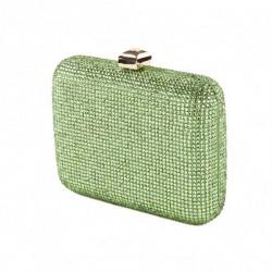 Bolsa bolso de embrague, Nadia, de Verde, de satén con diamantes de imitación