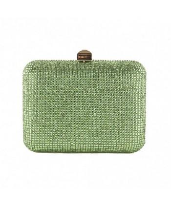 Bag clutch bag, Nadia, Green, satin with rhinestone