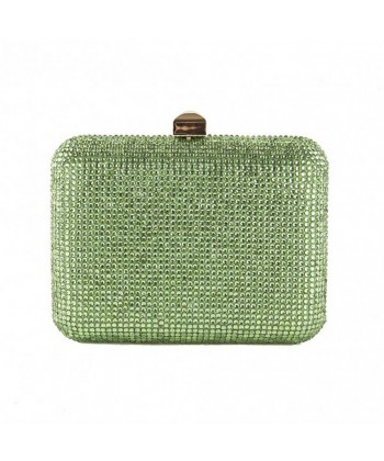 Bolsa de embreagem saco, Nadia, Verde, de satén con strass