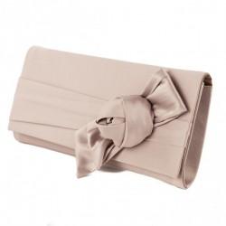 Bag clutch, Dalida Beige in satin with bow