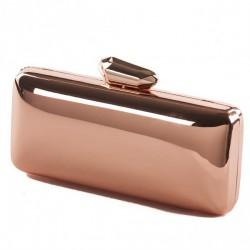 Clutch-tasche, Monica, Rosa, metall, glänzend