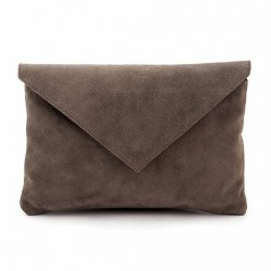 Borsa clutch, Margot Grigia, in pelle scamosciata, made in Italy