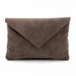 Sac d'embrayage, Margot Grise, en daim, en cuir, fabriqué en Italie