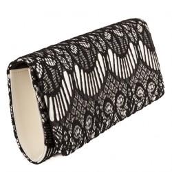 Borsa clutch, Marina nera, in tessuto in raso e pizzo