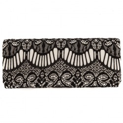 Bag clutch, Navy, black, in satin fabric and lace