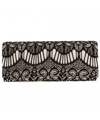 Bolsa de embreagem, Mariña, negro, no tecido de cetim e rendas
