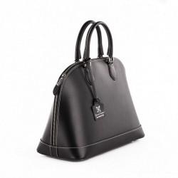 Handtasche, Fernanada Schwarz, leder, made in Italy
