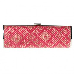 Bag clutch, Barbara Fuchsia, raffia
