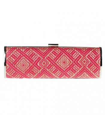 Borsa clutch, Barbara Fucsia, in rafia