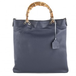 Hand bag, Tsarina blue, genuine leather