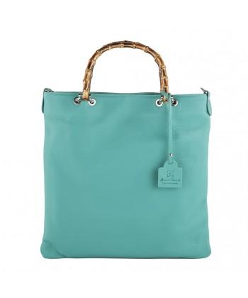 Hand bag, Tsarina blue, genuine leather