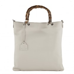 Hand bag, Zarina white, genuine leather