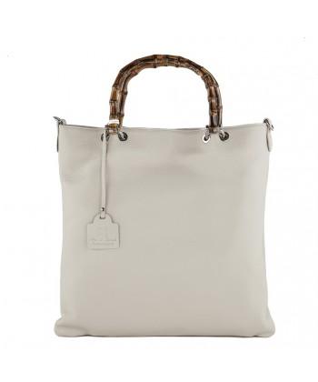 Hand bag, Zarina white, genuine leather