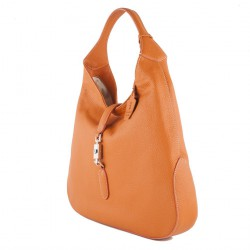 Sac à main, Zénobie, orange, cuir véritable